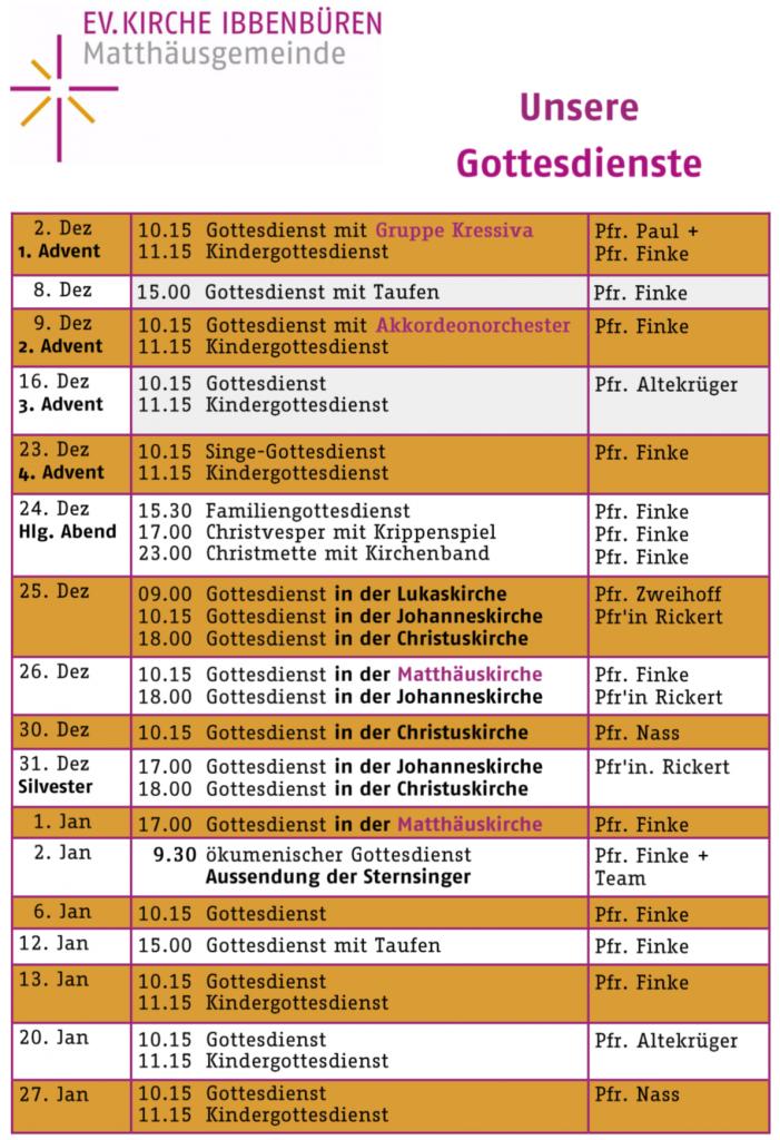 Gottesdienste Matthäuskirche IV-2018