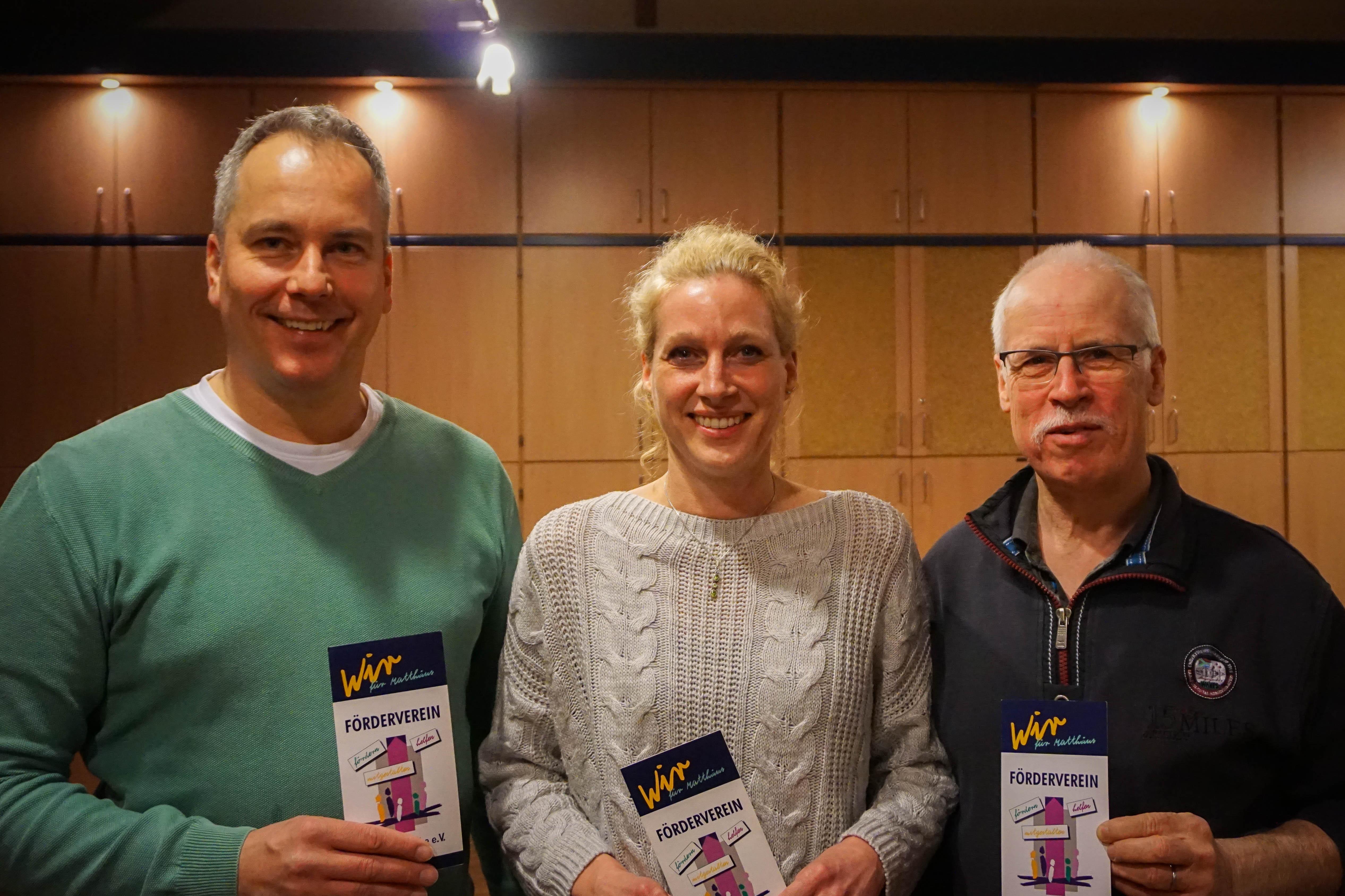 Vorstand Förderverein Matthäuskirche e.V., v.l.: Stefan Goedsche (Vorsitzender), Astrid Schreck (Schriftführerin), Dr. Rainer Beez (Schatzmeister).